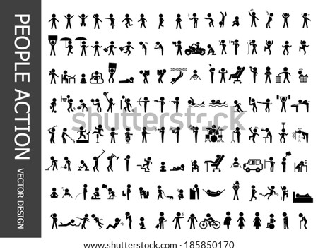 people action icons - stock vector