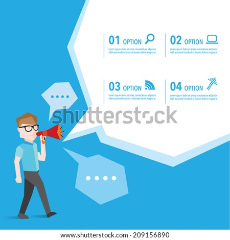 People advertise using megaphone vector design - stock vector