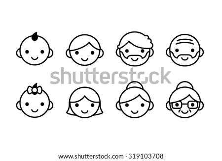 People ages icons, male and female, from young to old. Cute and simple line con set.  - stock vector