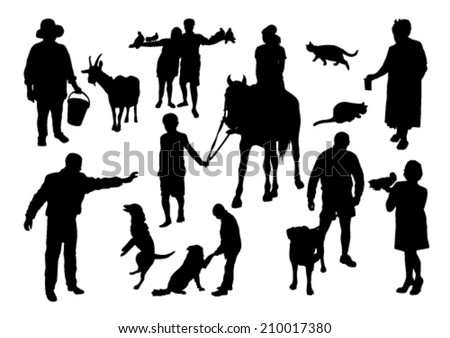 People and Animals Silhouettes Set - stock vector