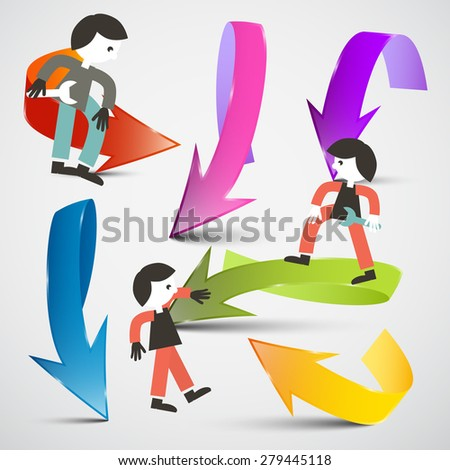 People and Arrows Vector