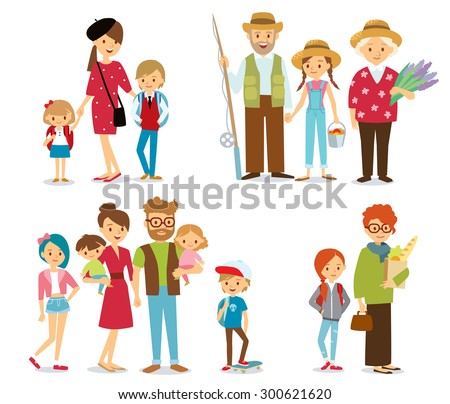 people and big family - stock vector
