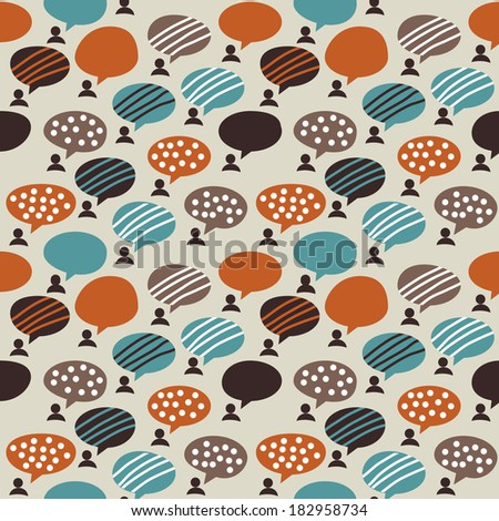 People and bubbles color seamless pattern Seamless pattern with people and bubbles. Metaphors about people communication. Color vector illustration. - stock vector