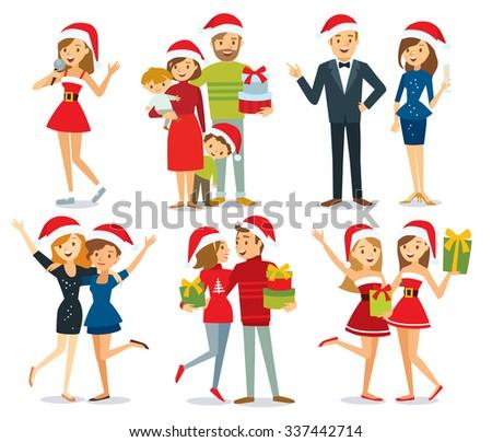 people and Christmas season - stock vector