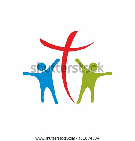 People and cross - stock vector