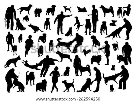 People and Dogs Silhouettes Set - stock vector