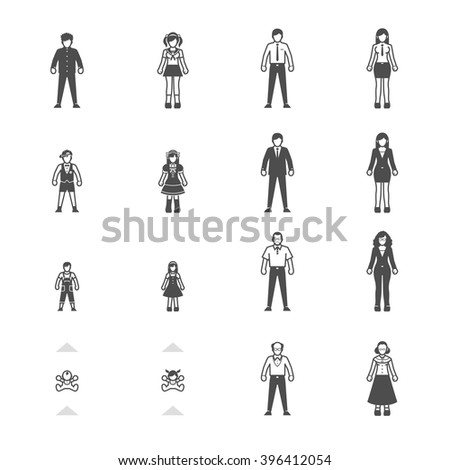 People and Family icon set for infographics - stock vector