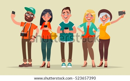 People and gadgets. Vector illustration in cartoon style