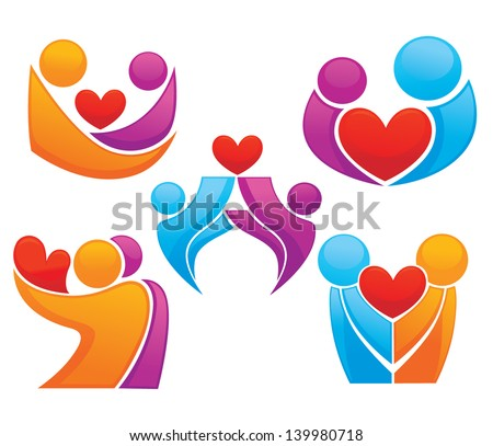 people and hearts, symbols of love, vector collection of signs and emblems - stock vector