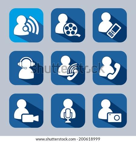 People Media Symbols Flat Icons Set Stock Vector 200618999