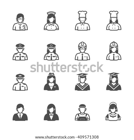 People and Occupation Icons with White Background - stock vector