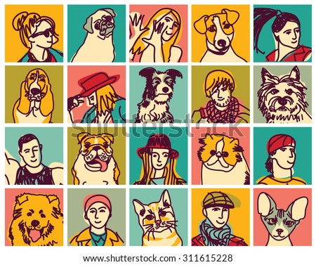 People and pets heads icons avatars set. Icons collection of pets and people. Color vector illustration. EPS8 - stock vector