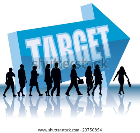 People are going to a direction - Target. - stock vector