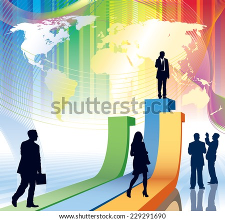 People are going to take their position, flying airplane and world map in the background - stock vector