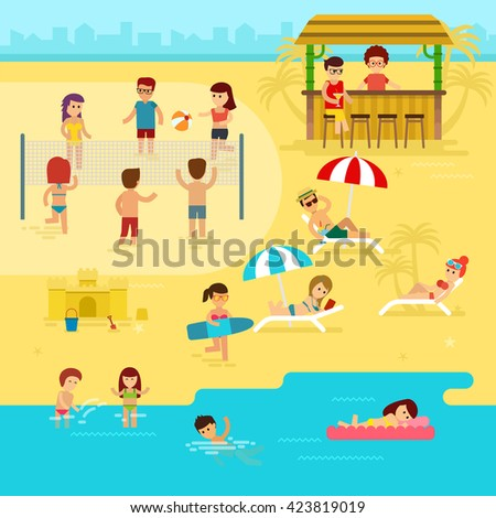 Beach With People Clipart Are Resting On The Summer Vacation By Sea Vector