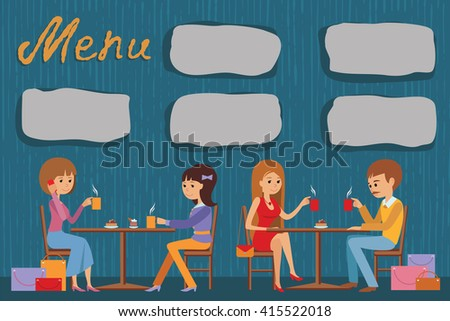 People are sitting in a cafe. Vector illustration of template  menu, brochure, print. - stock vector
