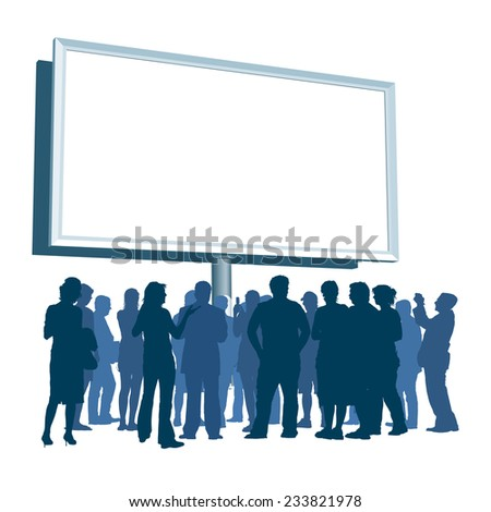 People are standing in front of large blank billboard - stock vector