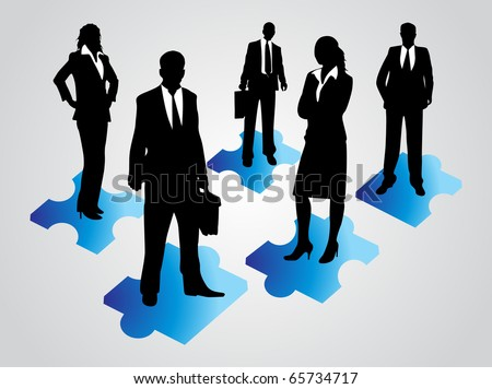 People are standing on colored pieces of jigsaw puzzle. - stock vector