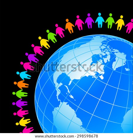 People around the earth. Template concept for global organizations, companies, foundations, associations, unions. - stock vector