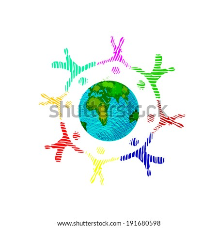 people around the globe. drawing pen. Vector - stock vector