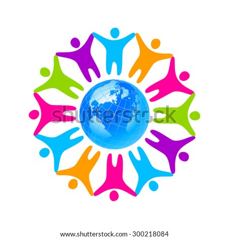 People around the planet. Template logo for the company, association, foundation, association. - stock vector