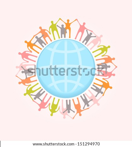 People around the world holding hands. Unity concept illustration. EPS 10 vector, transparencies used. - stock vector