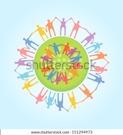 People around the world holding hands. Unity concept illustration. EPS 10 vector, transparencies used.