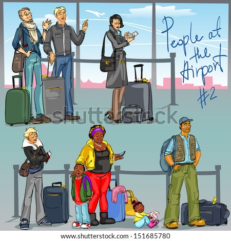 People at Airport 2 - hand drawn set of people with luggage. - stock vector