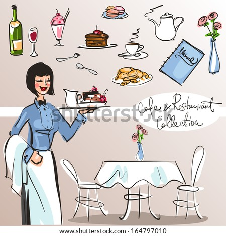 People at cafe and restaurant - Hand drawn Collection. Colorful version, part 4 - stock vector