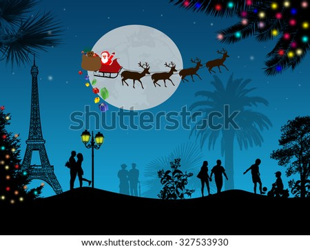 People at night in Paris with santa claus and deers silhouettes flying over a city, vector illustration - stock vector