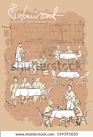 People at restaurant, outdoor cafe - Hand drawn vertical background with sample text - stock vector