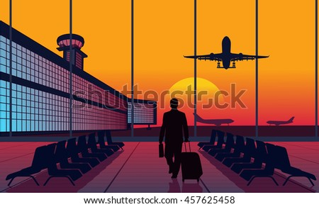 People at the airport - stock vector