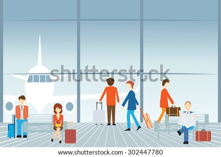 People at the airport, Vector illustration. - stock vector