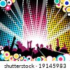 People at the concert - teal, pink and yellow version - stock vector