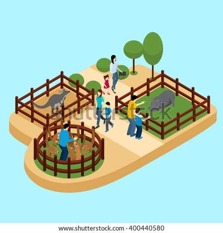 People at the zoo with hippos and lemurs on blue background isometric vector illustration  - stock vector