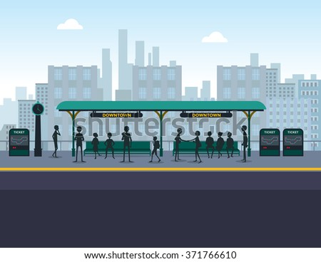 People at train station - stock vector