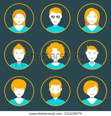 People avatar male and female human faces social network icons set isolated vector illustration in style flat design