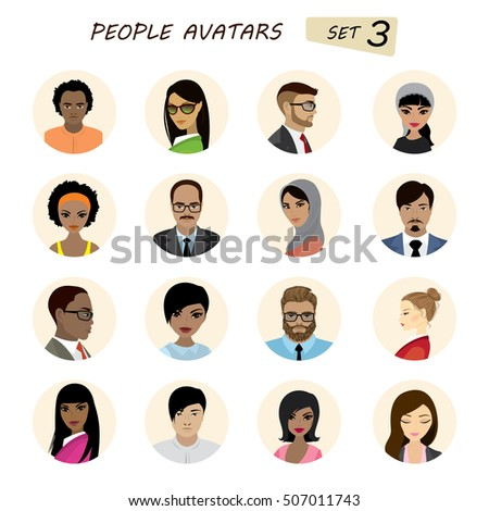 People avatars collection,business man and business woman different races, isolated on white background ,stock vector illustration
