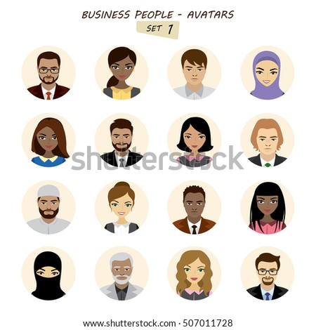 People avatars collection,businessman and business woman different races, isolated on white background ,stock vector illustration