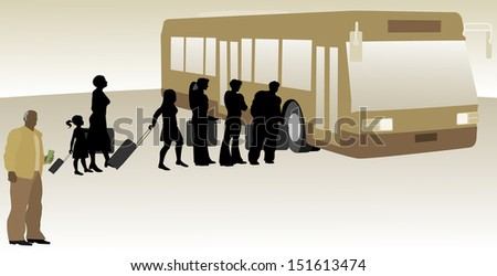 People Boarding Bus - stock vector