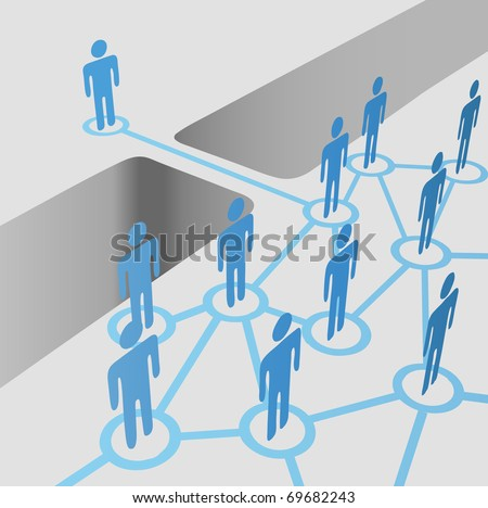 People bridge a gap to connect and join network nodes in a merger team - stock vector