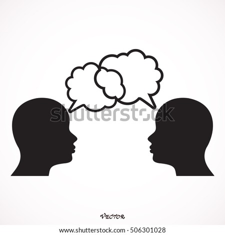 people bubble woman man male female head person human profile silhouette icon. Flat and Isolated design. Vector illustration