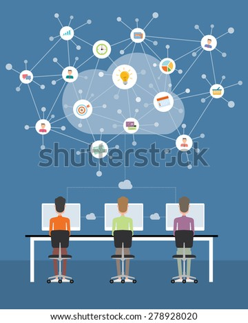 People business working on cloud network connection  - stock vector
