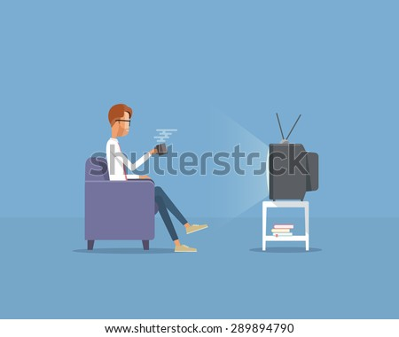 people businessman  watching television on sofa .flat vector cartoon - stock vector