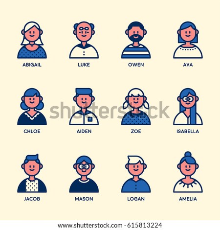 people bust line dot texture character vector illustration flat design