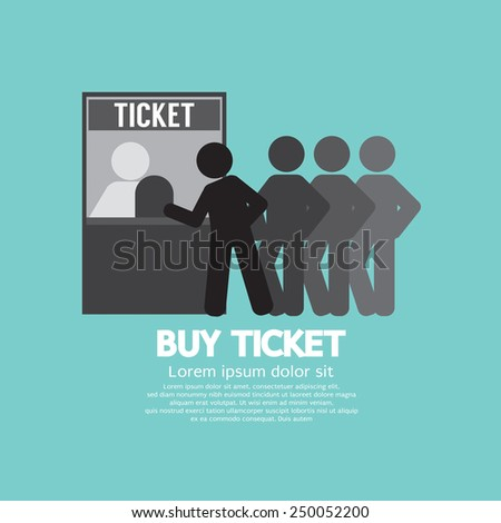 People Buy Ticket At Service Booth Vector Illustration - stock vector