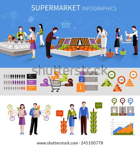 People buying food products in supermarket infographics set with charts vector illustration - stock vector