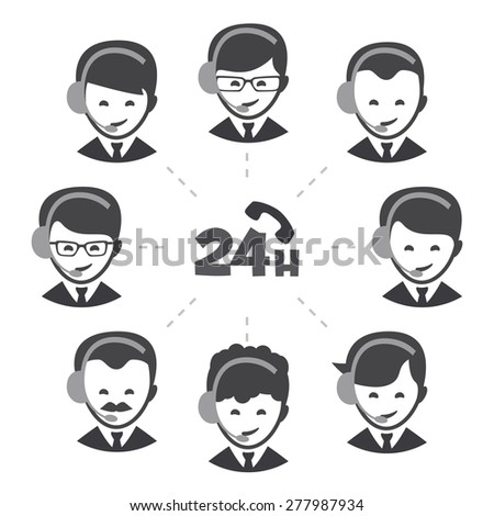 People call center 24 hours icon set
