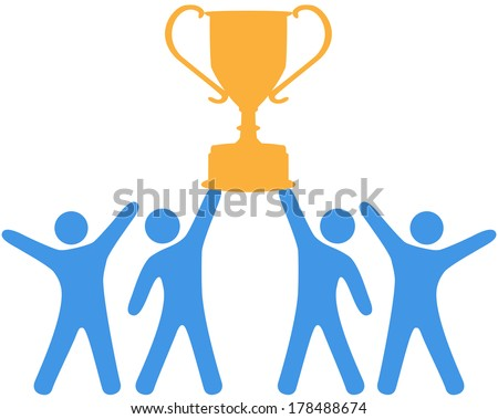 People celebrate win of trophy won by group teamwork - stock vector