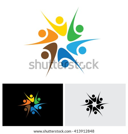people celebrating & having fun or friends sharing joy & happiness - vector logo icon. This also represents excited people, people dancing,school children or kids playing, colorful employees in circle